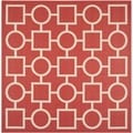 Safavieh Indoor/ Outdoor Courtyard Collection Red/ Bone Rug (7'10 Square)