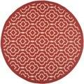 Contemporary Safavieh Indoor/ Outdoor Courtyard Red/ Bone Rug (7'10 Round)