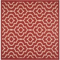 Safavieh Indoor/ Outdoor Courtyard Red/ Bone Geometric-pattern Rug (7'10 Square)
