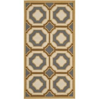 Safavieh Indoor/ Outdoor Hampton Dark Grey/ Ivory Rug (2'7 x 5')