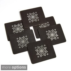 Set of 6 Handmade Faux Leather Beverage Coasters with Motif (India)