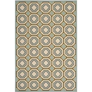 Safavieh Indoor/ Outdoor Hampton Light Blue/ Ivory Rug (8' x 11')