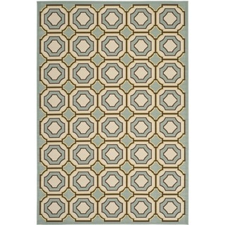 Safavieh Indoor/ Outdoor Hampton Light Blue/ Ivory Rug (8' x 11')