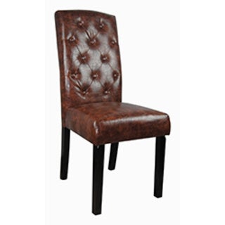 Castillian Classic Brown Faux Leather Tufted Parson Chairs (Set of 2)