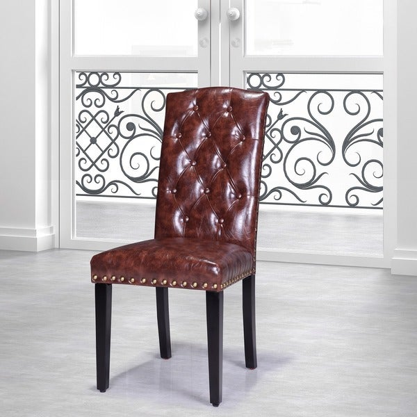 Faux Leather Parsons Dining Room Chairs: Luxury Comfort Collection Brown Faux Leather Tufted Parson Chairs (Set Of 2)