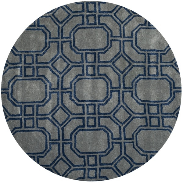 Safavieh Handmade Soho Grey/ Dark Blue New Zealand Wool/ Viscose Rug (6' Round)