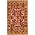 Safavieh Handmade Taj Mahal Light Gold/ Red Wool Rug (4' x 6')