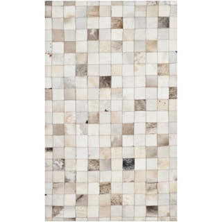 Safavieh Hand-woven Studio Leather Beige Leather Rug (3' x 5')