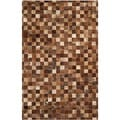Safavieh Hand-woven Studio Leather Brown/ Light Brown Leather Rug (4' x 6')