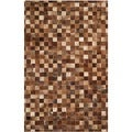 Safavieh Hand-woven Studio Leather Brown/ Light Brown Leather Rug (5' x 8')
