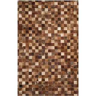 Safavieh Hand-woven Studio Leather Brown/ Light Brown Leather Rug (8' x 10')