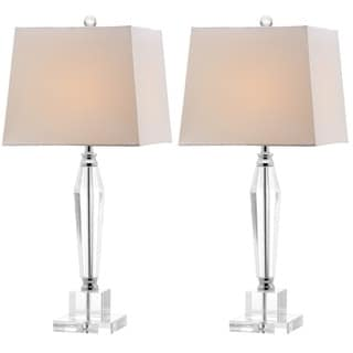 Safavieh Lighting 28-inches Aiden White Shade Faceted Crystal Table Lamp (Set of 2)