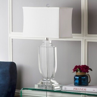 "Safavieh Lighting 26-inch Deirdre White Shade Crystal Urn Table Lamp - 12""x12""x28"""