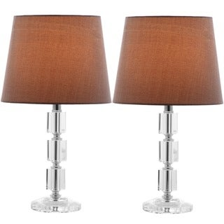 Safavieh Indoor 1-light Erin Gray Shade Crystal Cube Table Lamp (Set of 2)