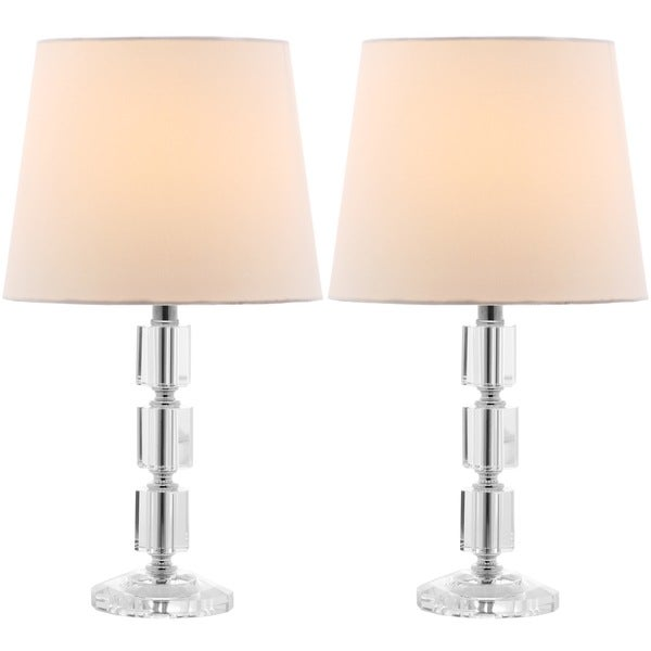 Safavieh Indoor 1-light Erin White Shade Crystal Cube Table Lamp (Set of 2)