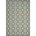 Safavieh Indoor/ Outdoor Hampton Dark Gray/ Light Blue Geometric-pattern Rug (5'1 x 7'7)