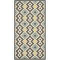 Safavieh Indoor/ Outdoor Hampton Dark Grey/ Light Blue Rug (4' x 6')