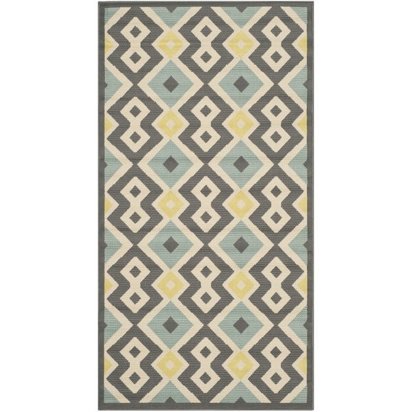 Safavieh Indoor Outdoor Hampton Dark Grey Light Blue Rug