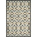 Safavieh Indoor/ Outdoor Hampton Dark Gray/ Light Blue Polypropylene Rug (5'1 x 7'7)