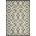 Safavieh Indoor/ Outdoor Hampton Dark Gray/ Light Blue Geometric Rug (6'7 x 9'6)