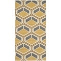 Safavieh Indoor/ Outdoor Hampton Ivory/ Camel Rug (4' x 6')