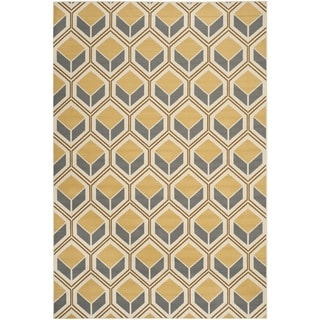 Safavieh Indoor/ Outdoor Hampton Ivory/ Camel Rug (6'7 x 9'6)