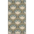 Safavieh Indoor/ Outdoor Hampton Dark Gray/ Light Blue Polypropylene Rug (2'7 x 5')