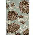 Safavieh Indoor/ Outdoor Hampton Light Blue/ Brown Rug (5'1 x 7'7)