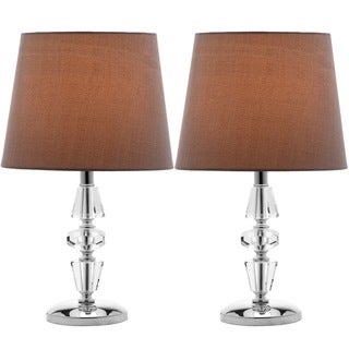 Safavieh Lighting 15-inch Crescendo Gray Shade Tiered Crystal Table Lamp (Set of 2)