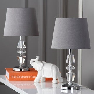 "Safavieh Lighting 15-inch Crescendo Grey Shade Tiered Crystal Table Lamp (Set of 2) - 9""x9""x16"""
