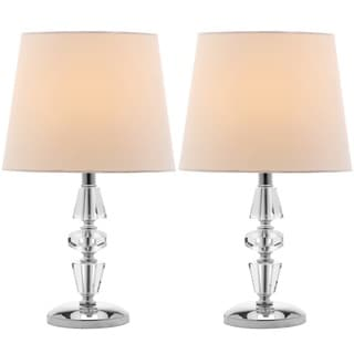 Safavieh Indoor 1-light Crescendo White Shade Tiered Crystal Table Lamp (Set of 2)