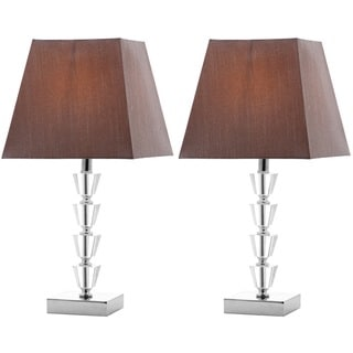 Safavieh Lighting 17.25-inches Avalon Gray Shade Deco Crystal Table Lamp (Set of 2)