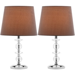 Safavieh Indoor 1-light Derry Gray Shade Stacked Crystal Orb Table Lamp (Set of 2)