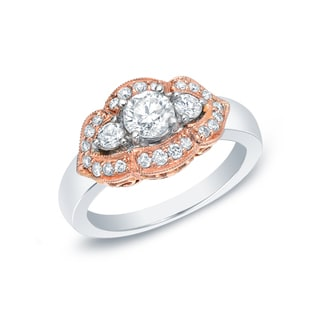 Auriya 14k Gold Rose Accent 1ct TDW Diamond Ring (G-H, SI1-SI2)