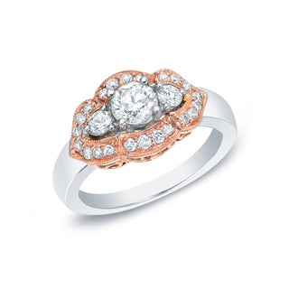 Auriya 14k Gold Rose Accent 1ct TDW Diamond 3-stone Ring (G-H, SI1-SI2)
