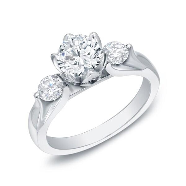 Auriya 14k Gold 1 3/4ct TDW Certified 3-Stone Diamond Engagement Ring (H-I, SI1-SI2)