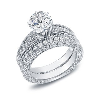 Auriya 14k Gold 1 1/2ct TDW Certified Round Center Diamond Bridal Set (H-I, SI1-SI2)