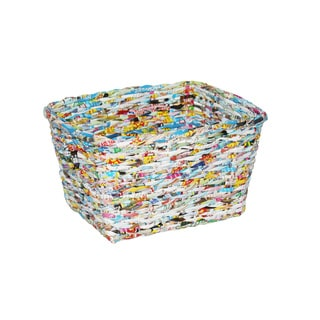 Set of 12 Multicolored Round Recycled Paper Waste-Bins (China)