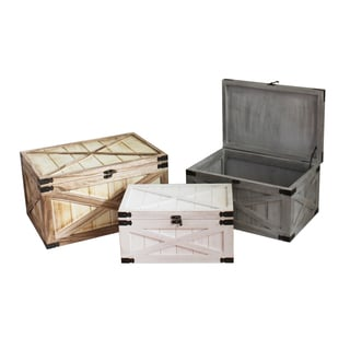 Set of 2 Distressed Wood Chests (China)