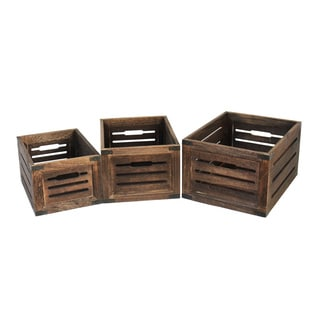 Set of 3 Distressed Wood Storage Crates (China)