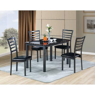 Imitation Marble Gun Metal Finish 5-piece Dining Set