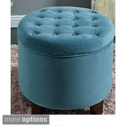 Large Round Button-tufted Storage Ottoman