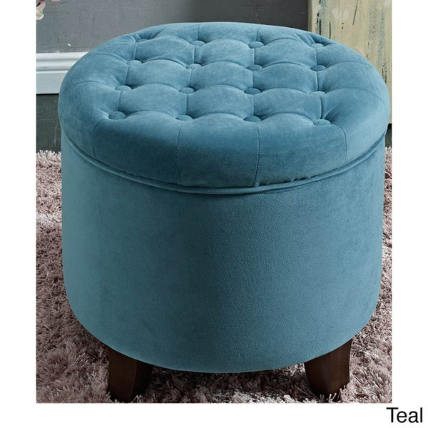 Round Button-tufted Storage Ottoman