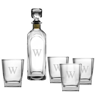 Monogrammed 5-piece Decanter and Rocks Glass Set
