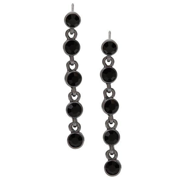 Carolee Black Crystal Linear Drop Earrings