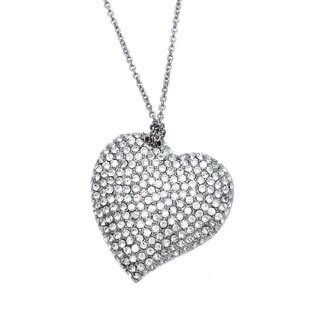 Carolee Silvertone Crystals Queen of Hearts Pendant Necklace
