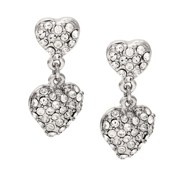 Carolee Silvertone Pave Crystal Heart Drop Earrings