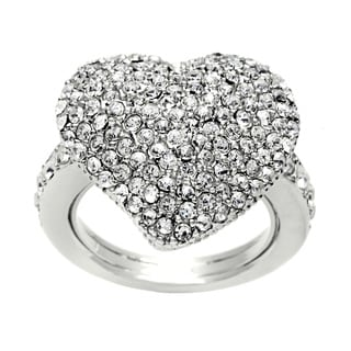 Carolee Silvertone Crystal Pave Ring
