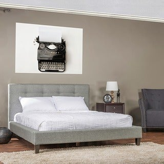 Quincy Grey Linen Platform Bed - Queen Size