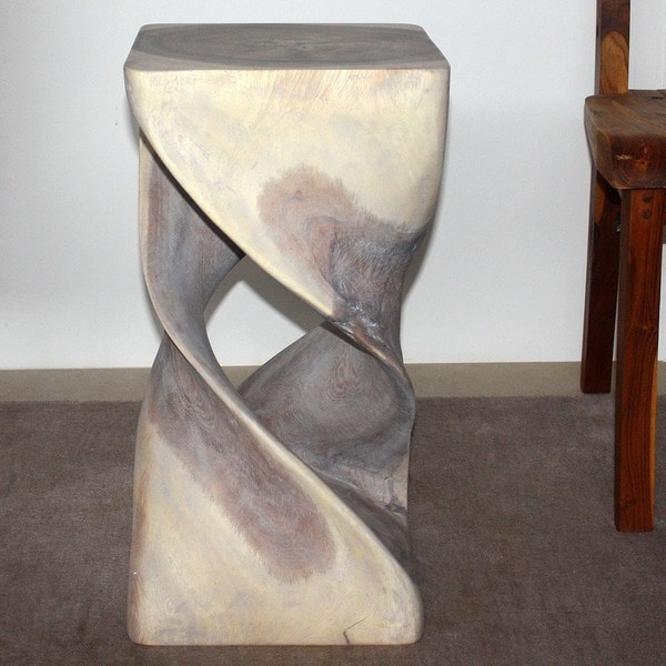 12 -Inch Square x 23-Inch High Agate Grey Oil Double Twist Stool/End Table